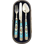 Victorian 1842 Sterling Silver & Porcelain Travelling Cutlery Set - Red Tag Sale Item