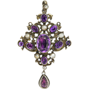 Austro-Hungarian Silver Gilt Amethyst & Pearl Pendant