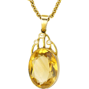 English Edwardian 9K Citrine and Pearl Necklace