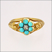 Victorian 9K Gold Turquoise & Diamond Flower Ring