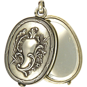 French Circa 1880 Double Mirror Slide Silver Pendant - Red Tag Sale Item