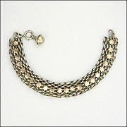 French Circa 1900 Silver and Gold Bracelet - Ball Charm
