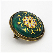French BRESSANS silver enamel decorative pin