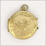 French Antique Silver Vermeil Small Locket Pendant