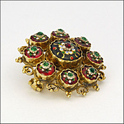 French Antique Bressans 18K Gold Pin with Enamel and Pastes