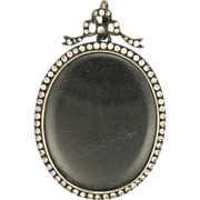 Victorian Silver and Pastes Locket Portrait Pendant