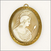 Victorian Large Cameo of Athena Pendant or Brooch