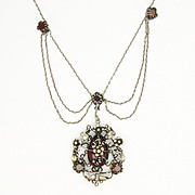 Arts & Crafts Silver and Garnet Festoon Necklace