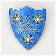 English Art Deco 1924 Silver Enamel Shield Pin - RELFE BROS - London