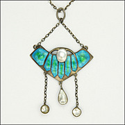 Arts and Crafts Silver Enamel Baroque Pearl Pendant Necklace