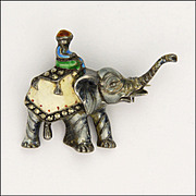 Sterling Silver and Enamel Elephant Pin