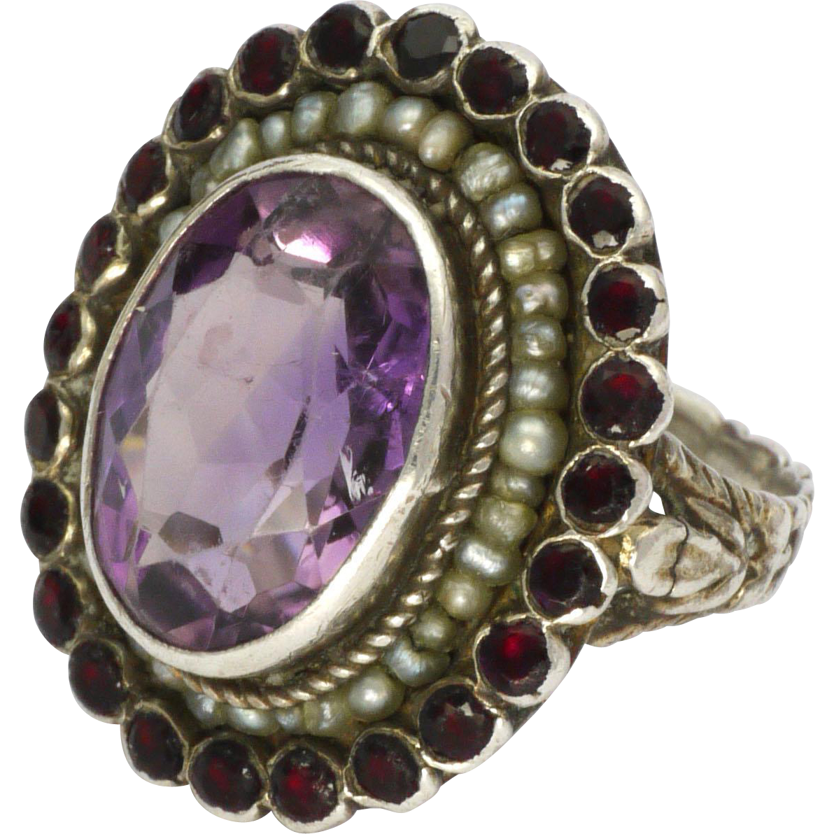 Arts and crafts silver amethyst seed pearl and garnet for Pearl arts and crafts closing