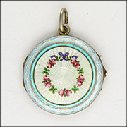 European 800 Silver Enamel Garland of Flowers Antique Locket