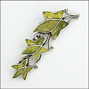 English Silver Connemara Marble Ivy PIn - signed  S and Co