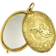 German Renaissance Revival Gold Plated Mirror Slide Pendant -GEBRUDER GLASER