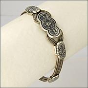 Victorian 900 Silver and Niello Bracelet