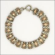 French Antique Silver and 18K Rose Gold Vermeil Bracelet