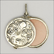 English Art Nouveau Sterling Silver Slide Locket  - HENRY MATTHEWS  1902