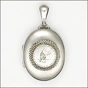 Victorian Sterling Silver Raised Engraved Bird Motif Locket