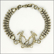 Victorian Sterling Silver Albertina Horseshoe and Whip Albertina