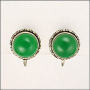 English Art Deco Sterling Silver and Chrysoprase Agate Earrings - Screw Backs
