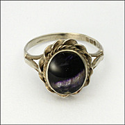 English Blue John and Silver Ring - Hallmarked 1988