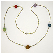Art Deco Gemstone Bead Necklace with Faux Pearls - 29½""