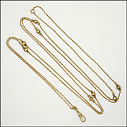 "Victorian English  9 Carat Gold Long Guard Chain - 56"" - 11.4 grams"
