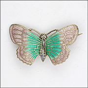 English Art Deco Silver Enamel Butterfly Pin -  signed OT&S