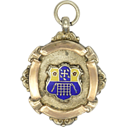English Silver and Enamel with Gold Overlay Soccer Medal Pendant - 1921