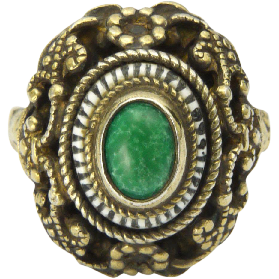 austro hungarian arts and crafts silver gilt ring from