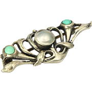 English WHH Liberty Art Nouveau Silver Pearl and Turquoise Pin - Red Tag Sale Item