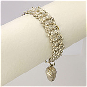 French Antique Repoussé Silver Acorn Charm Bracelet - 6¼""