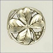 French Art Nouveau Silver Four Leaf Clover Clip