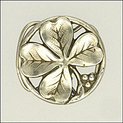 French Art Nouveau Silver Four Leaf Clover Clip