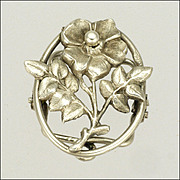 French Art Nouveau Silver Flower Clip
