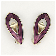 Silver Enamel Earrings O F HJORTDAHL- Norway