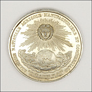 French Large  19C Silvered Copper Sun Medal
