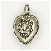 Victorian Sterling Silver Heart  with Cherub Pendant or Charm