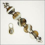 Victorian Scottish Agate on Silver Bracelet - Padlock Charm