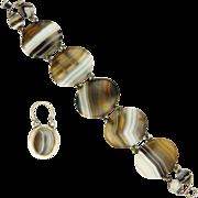 Victorian Scottish Agate on Silver Bracelet - Padlock Charm