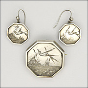 Victorian Silver Aesthetic Period Bird Pin and Earrings