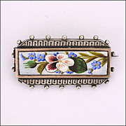 Victorian Silver Enamel Pansy and Forget-me-not Sentimental Pin