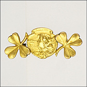 French Circa 1900 Gold Filled FIX Joan of Arc Shamrock Pin - BECKER