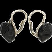 French Art Deco Silver and Jet Earrings - Pierced Ears