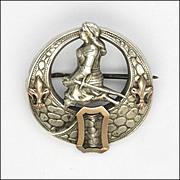 French Antique Silver Joan of Arc Buckle Pin