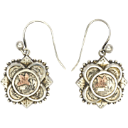 Victorian Engraved Silver and Gold Dragonfly Pierced Earrings
