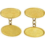 English Art Deco 9K Gold Boxed Cufflinks