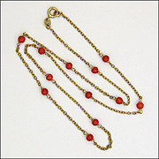 9k Gold and Natural Coral Bead Necklace - Hallmarked 1978 - 19¼""