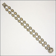 European Possibly French Antique Silver and Gilt Bracelet - Decorative Clasp